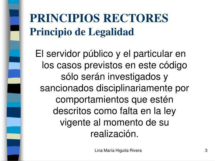Principios rectores principio de legalidad
