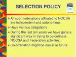 selection policy11