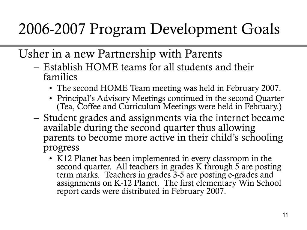 2006-2007 Program Development Goals