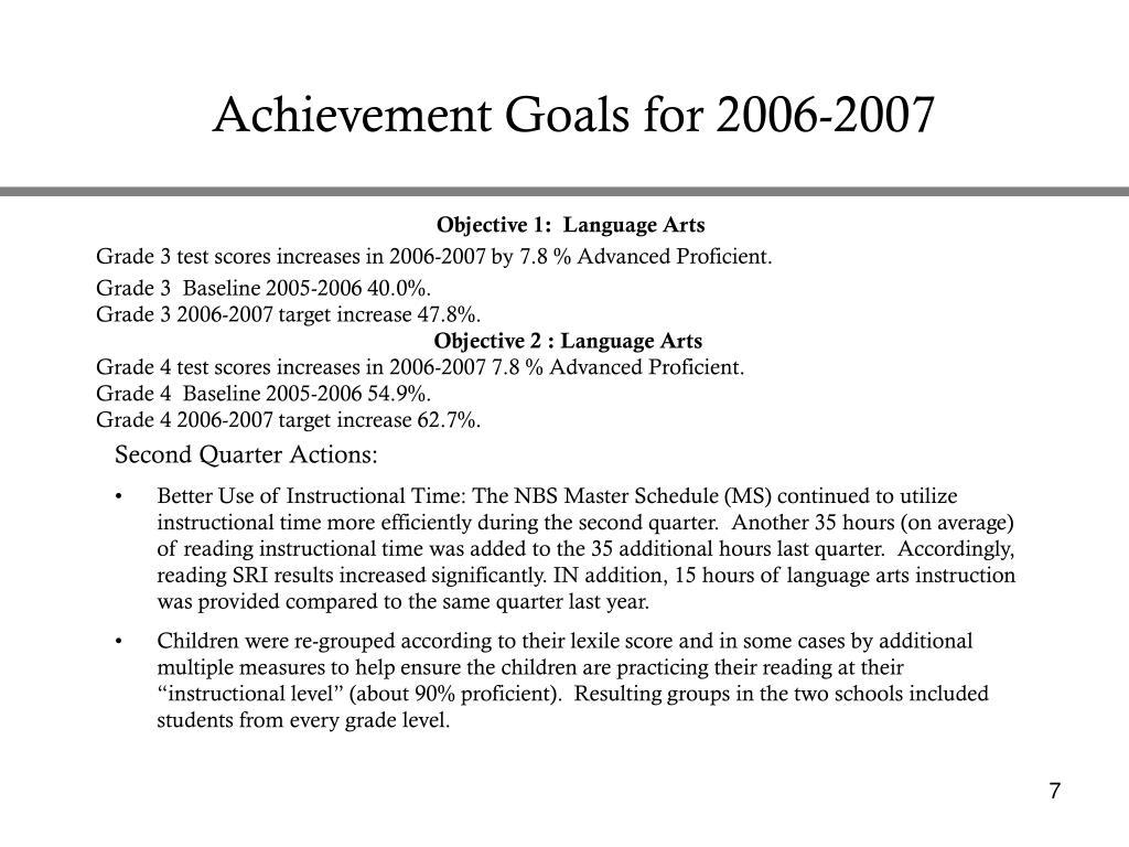 Achievement Goals for 2006-2007