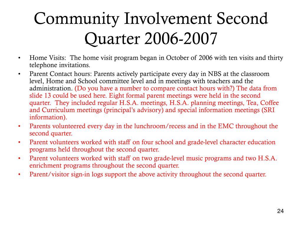 Community Involvement Second Quarter 2006-2007
