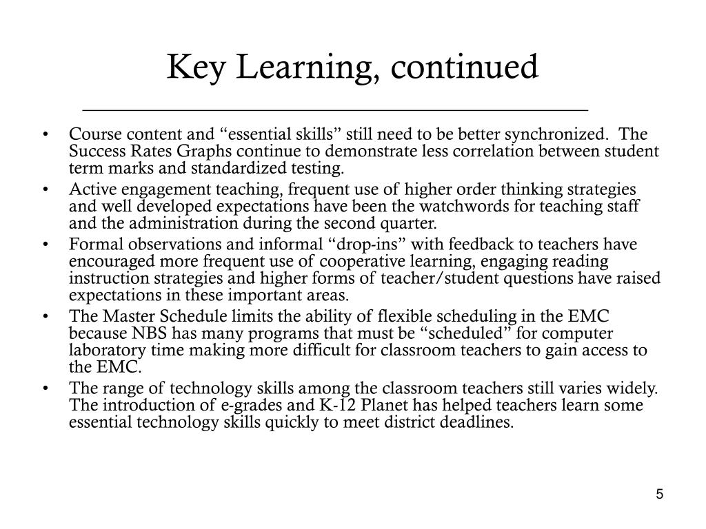 Key Learning, continued
