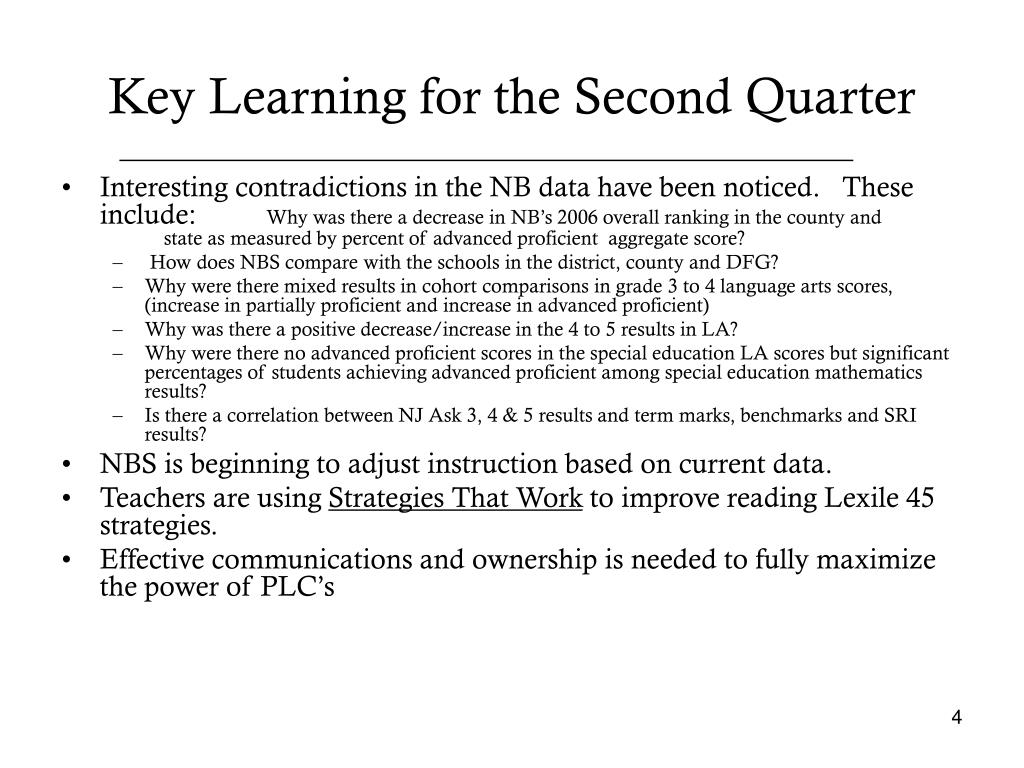 Key Learning for the Second Quarter