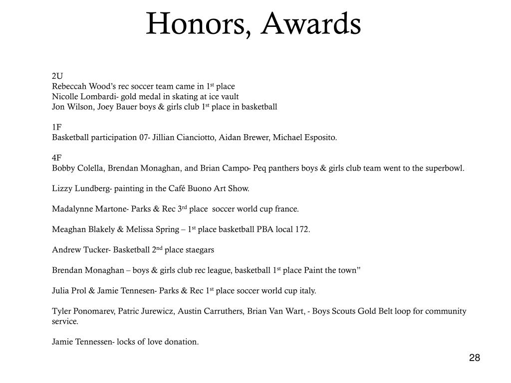 Honors, Awards
