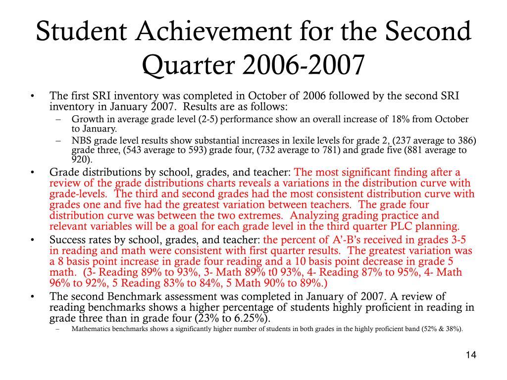 Student Achievement for the Second Quarter 2006-2007