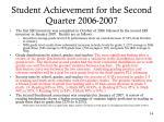 student achievement for the second quarter 2006 2007
