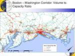 boston washington corridor volume to capacity ratio