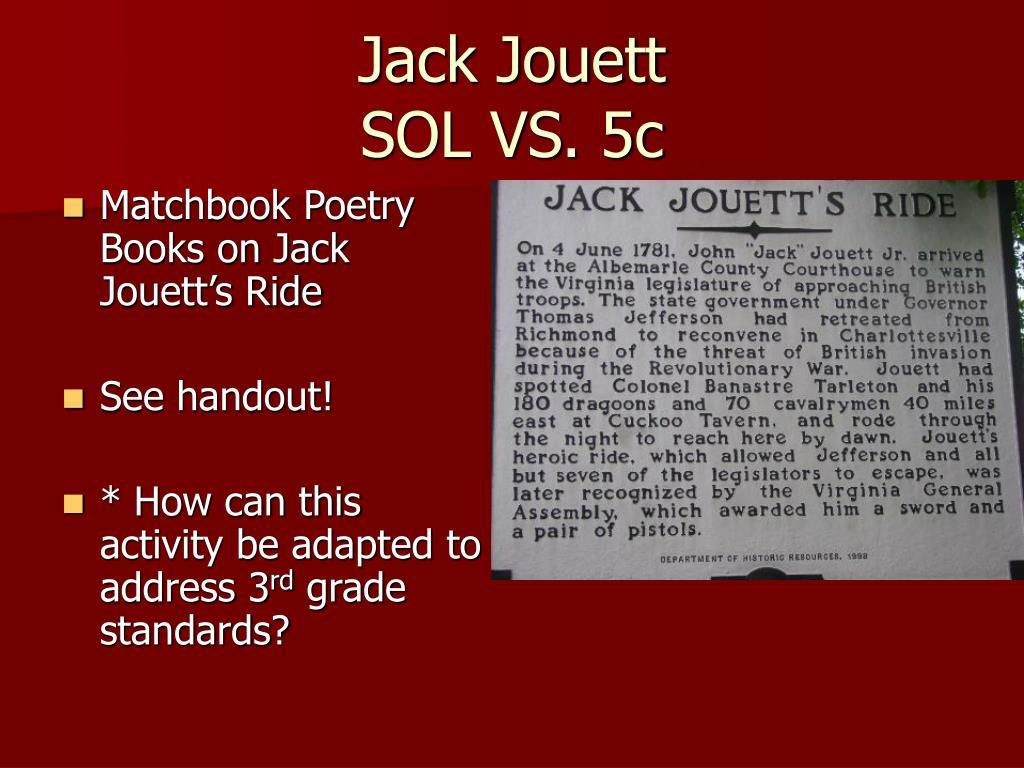 Matchbook Poetry Books on Jack Jouett's Ride