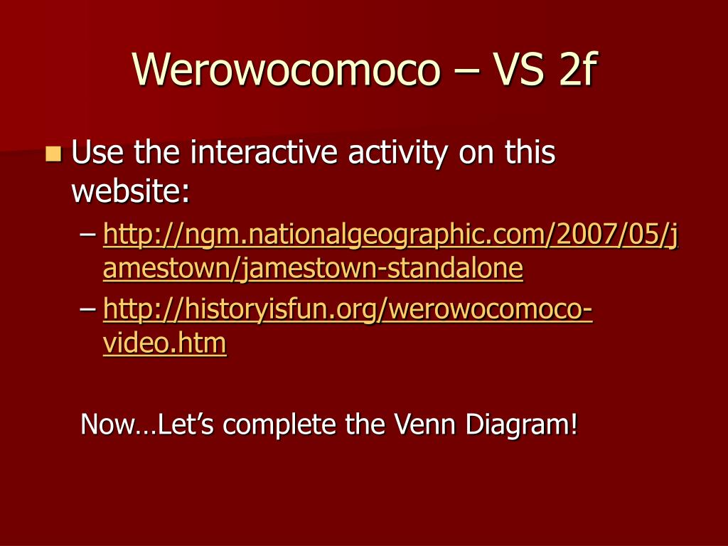 Werowocomoco – VS 2f