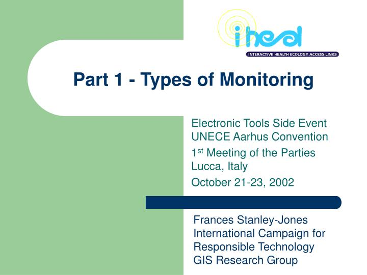 Part 1 types of monitoring