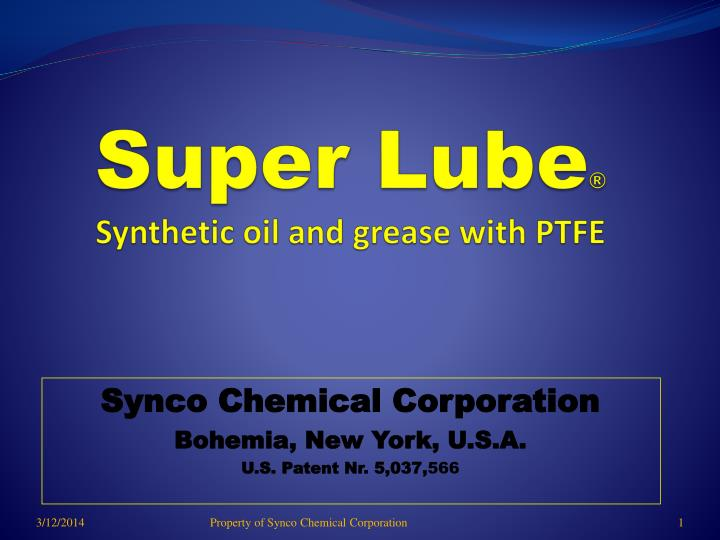 super lube synthetic oil and grease with ptfe n.