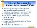 internet technologies hypertext markup language html