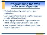 programming the web active server pages asp