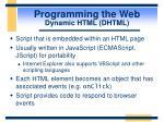 programming the web dynamic html dhtml