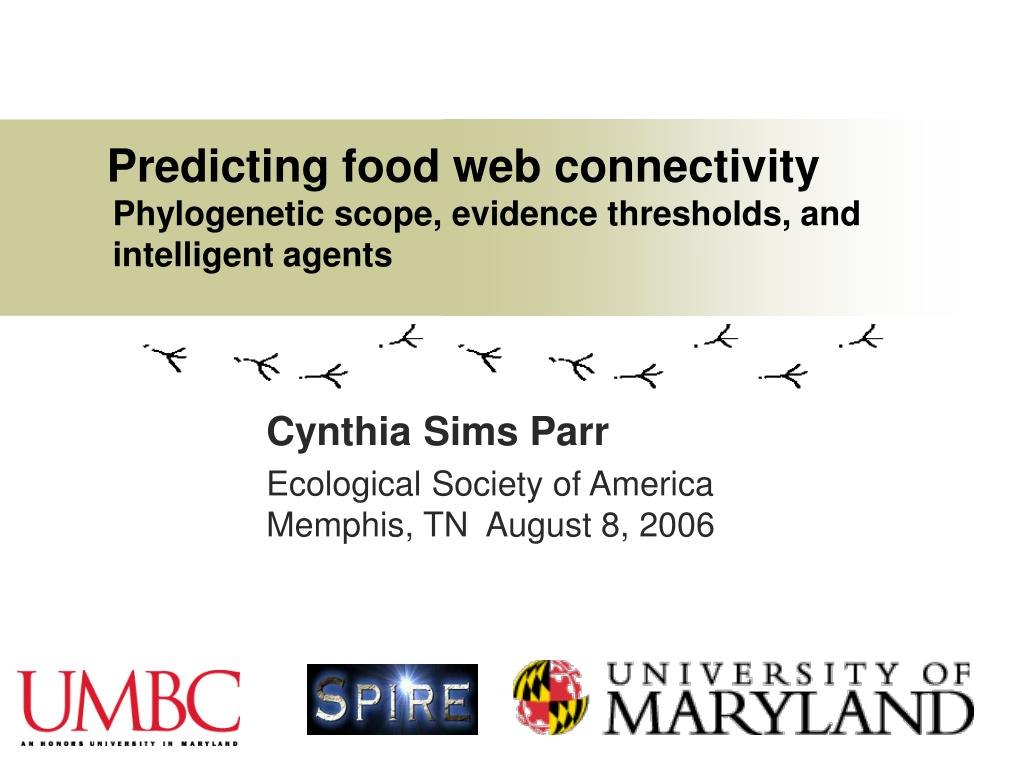 predicting food web connectivity phylogenetic scope evidence thresholds and intelligent agents