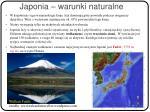 japonia warunki naturalne