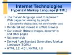 internet technologies hypertext markup language html