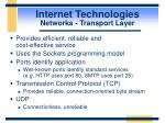 internet technologies networks transport layer