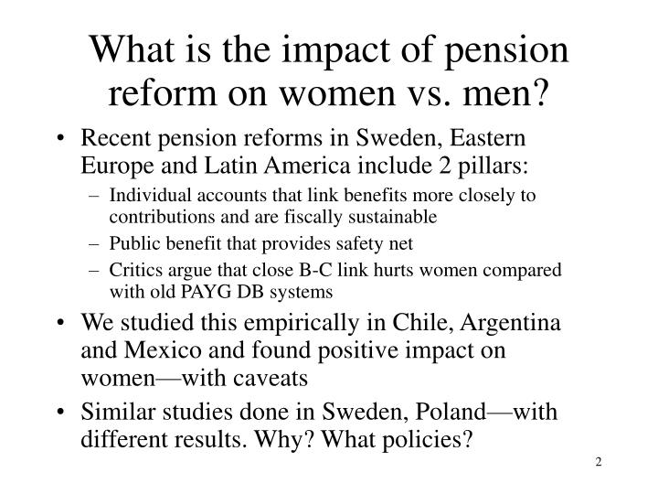 What is the impact of pension reform on women vs men