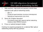 ucaid objectives for national fiber optical networking facility