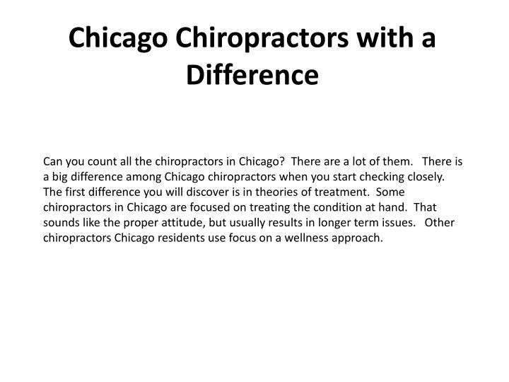 Chicago chiropractors with a difference