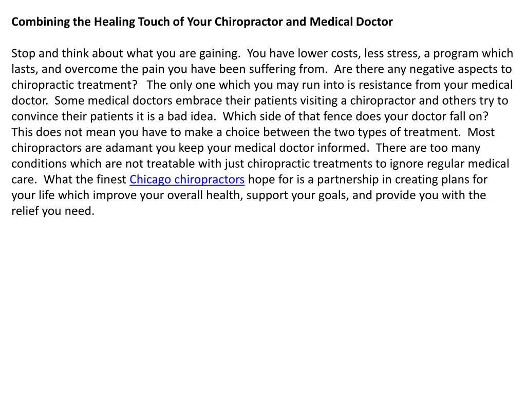 Combining the Healing Touch of Your Chiropractor and