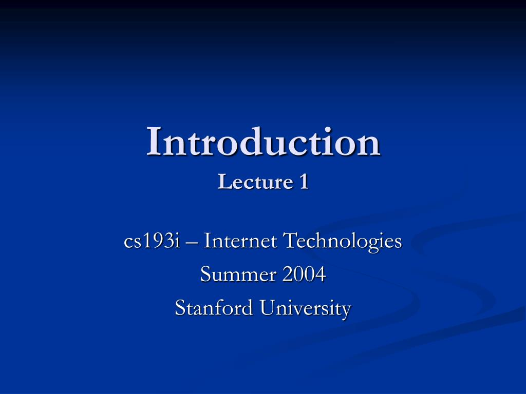 introduction lecture 1 l.