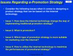 issues regarding e promotion strategy