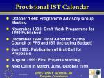 provisional ist calendar