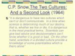 c p snow the two cultures and a second look 1964