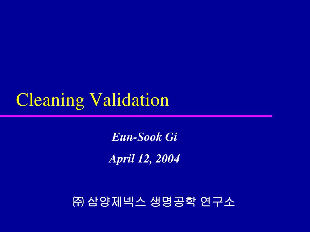 cleaning validation l.