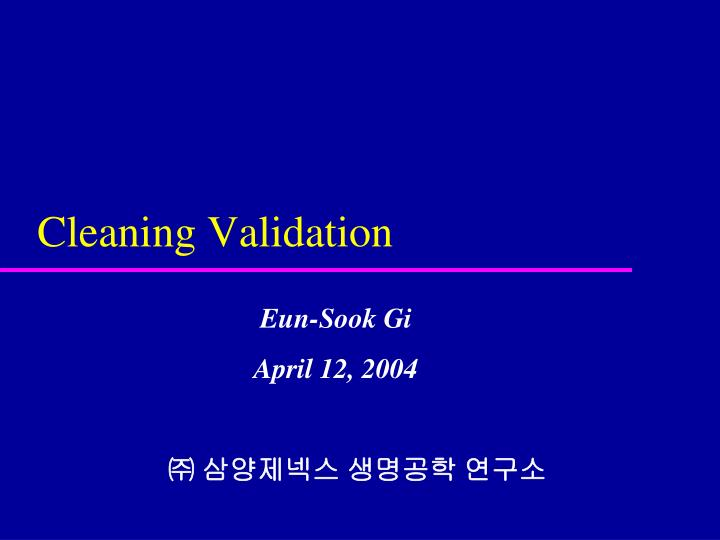 cleaning validation n.