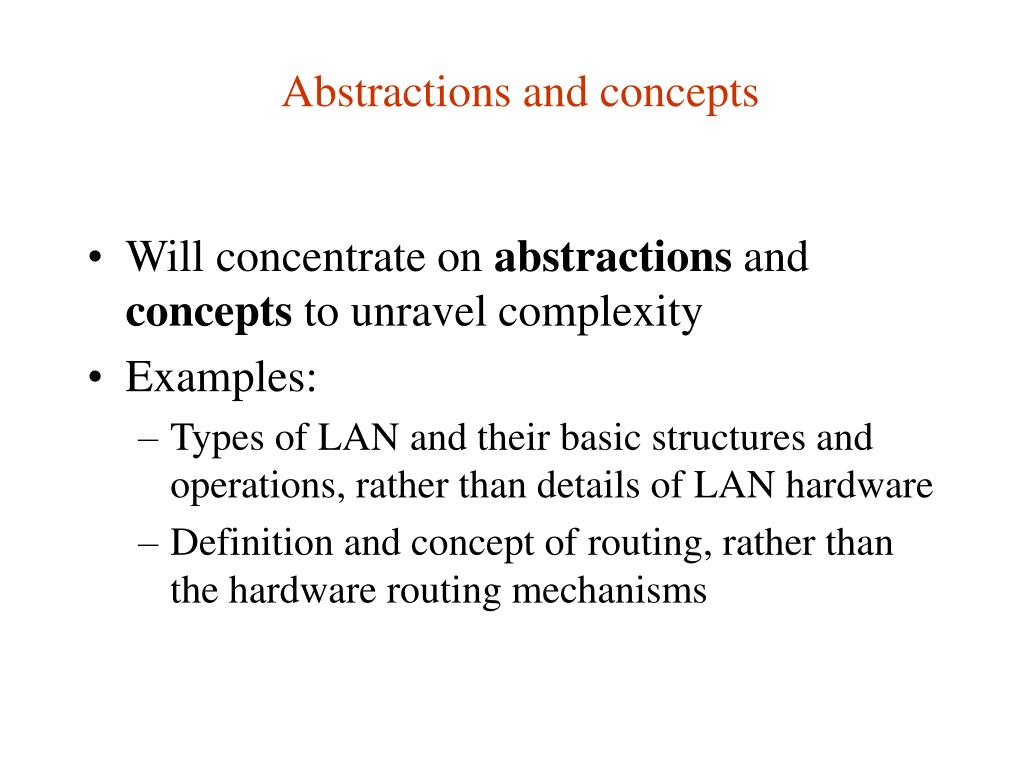 Abstractions and concepts