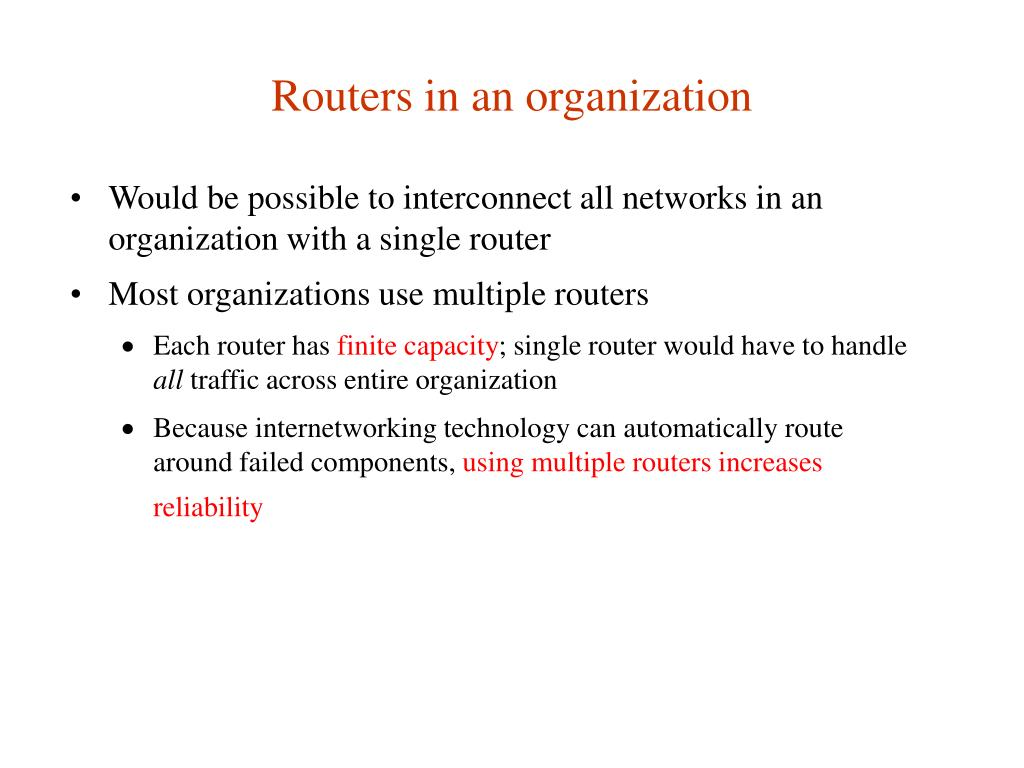 Routers in an organization