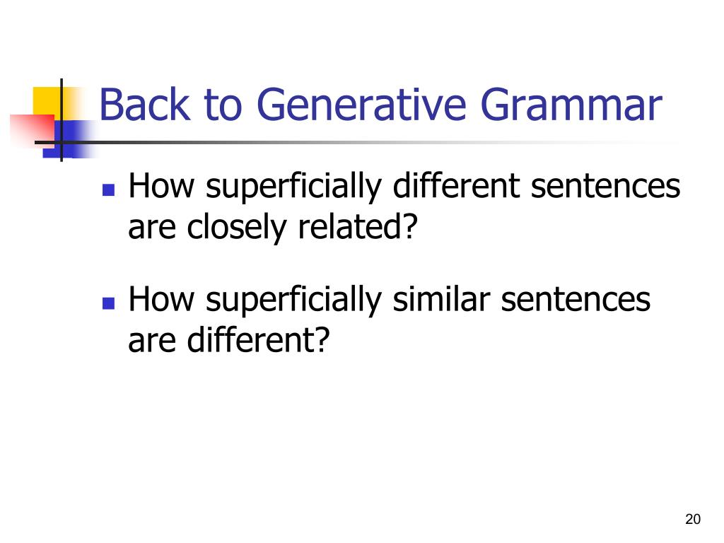 Back to Generative Grammar