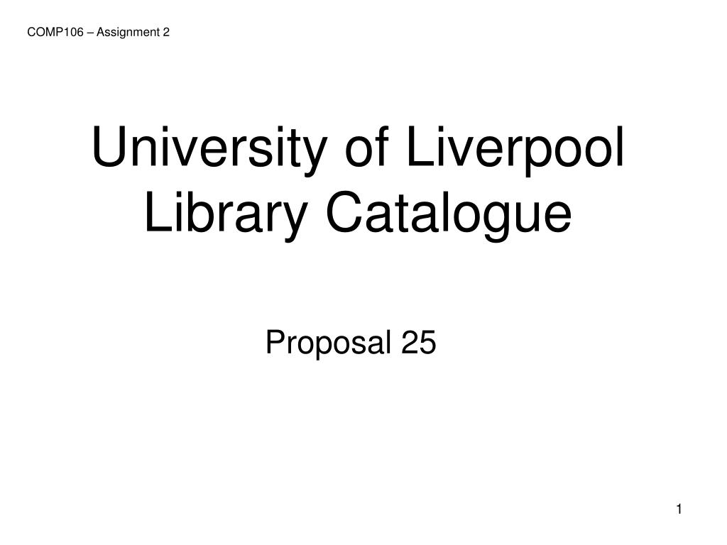 university of liverpool library catalogue l.