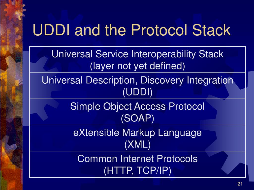 UDDI and the Protocol Stack