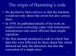 the origin of hamming s code