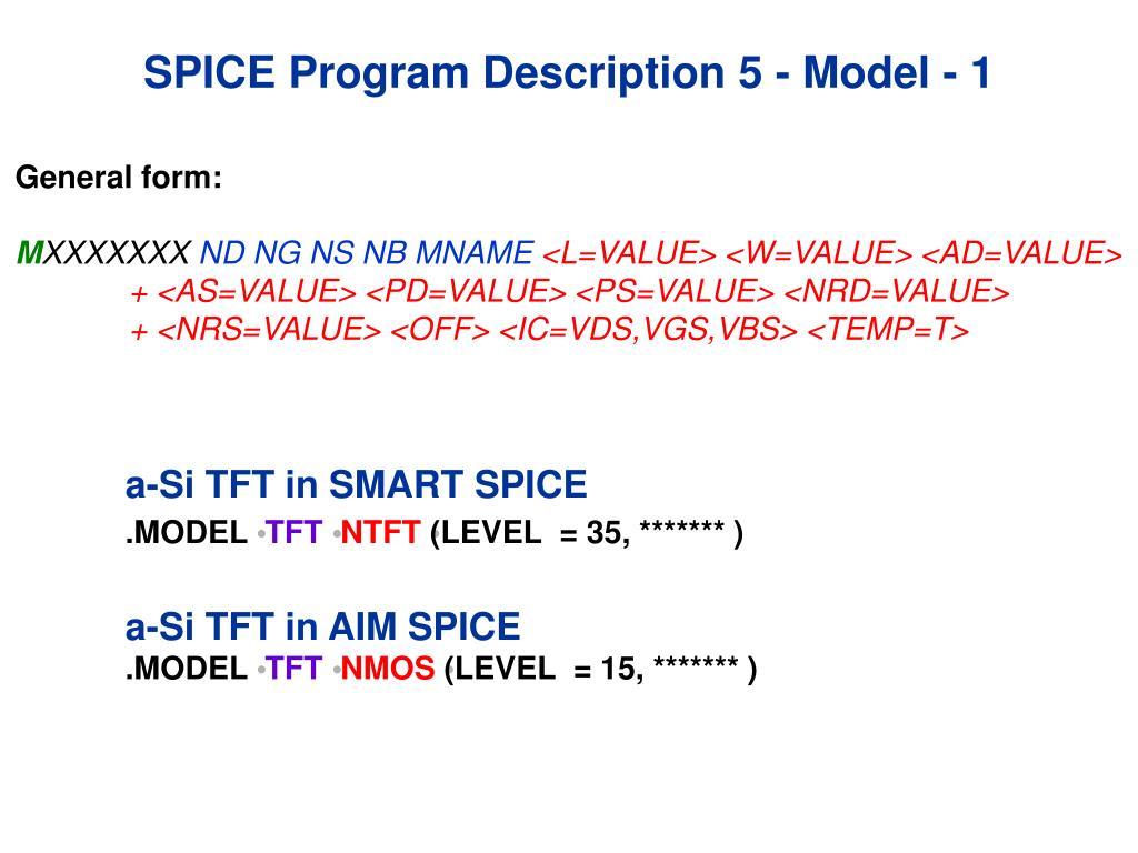 SPICE Program Description 5 - Model - 1
