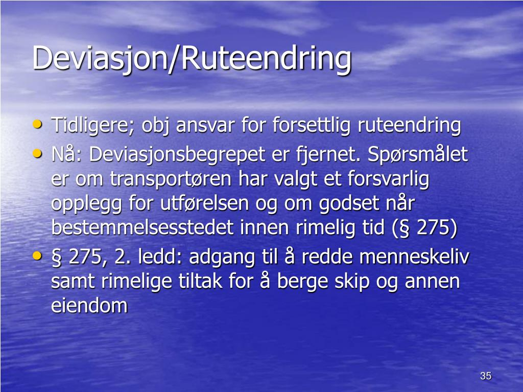 Deviasjon/Ruteendring