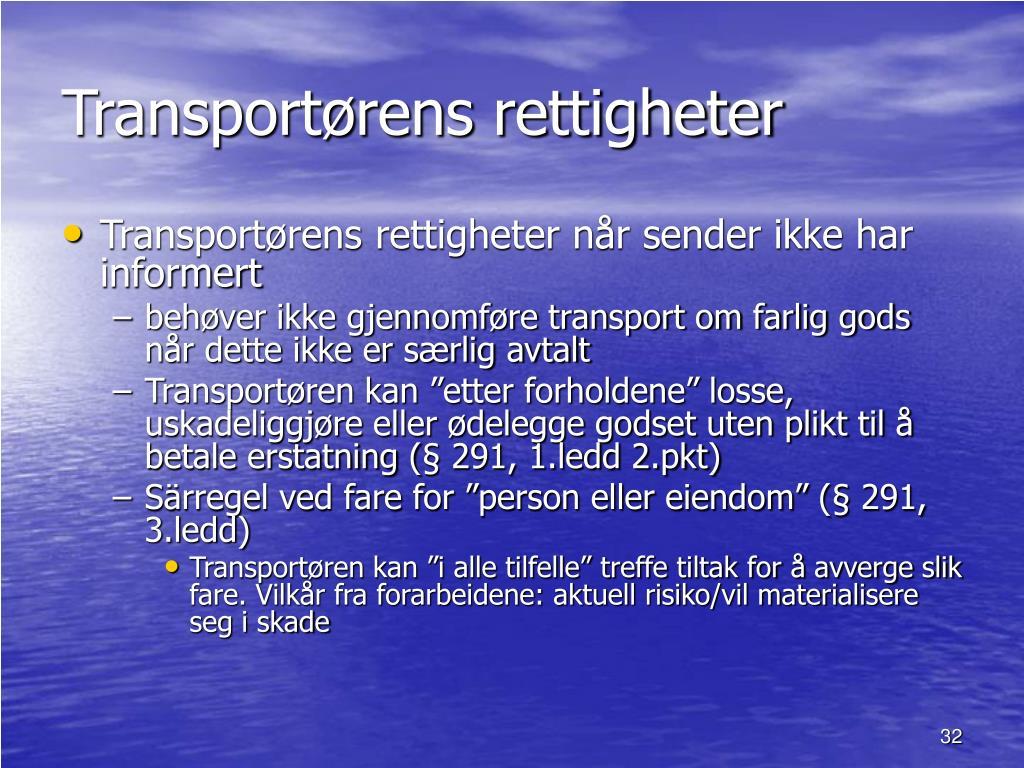 Transportørens rettigheter