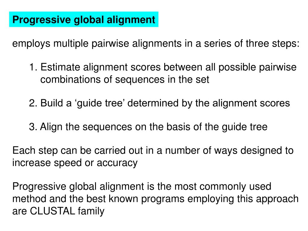 Progressive global alignment