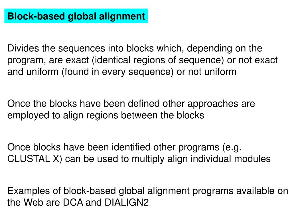 Block-based global alignment
