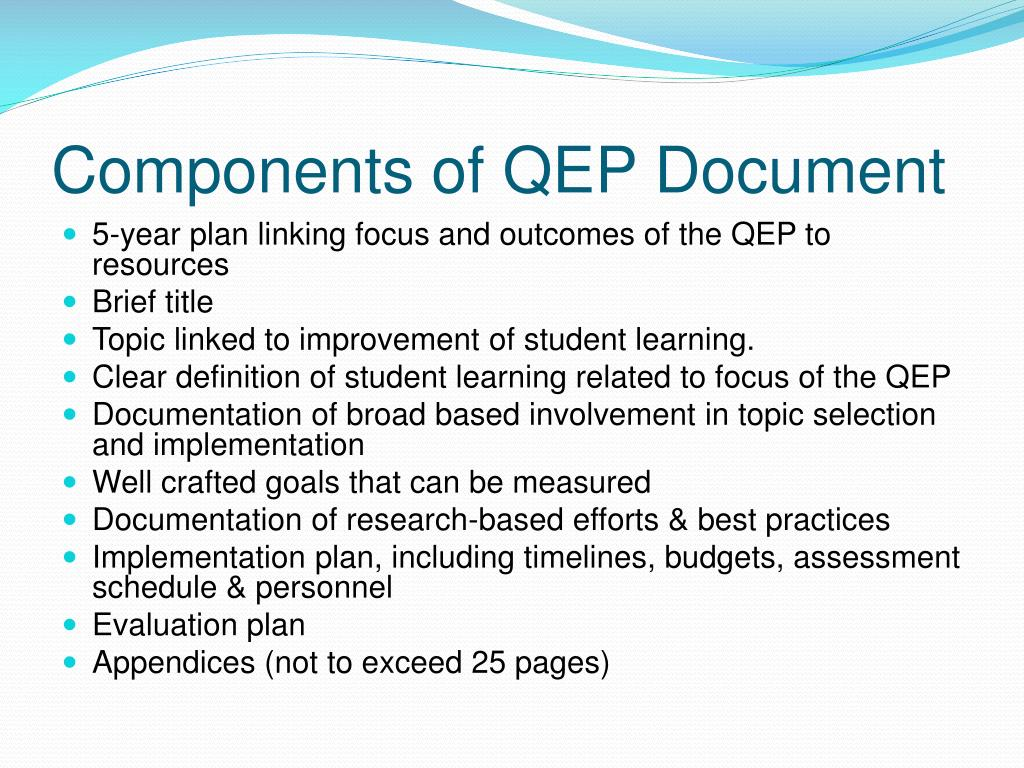 Components of QEP Document