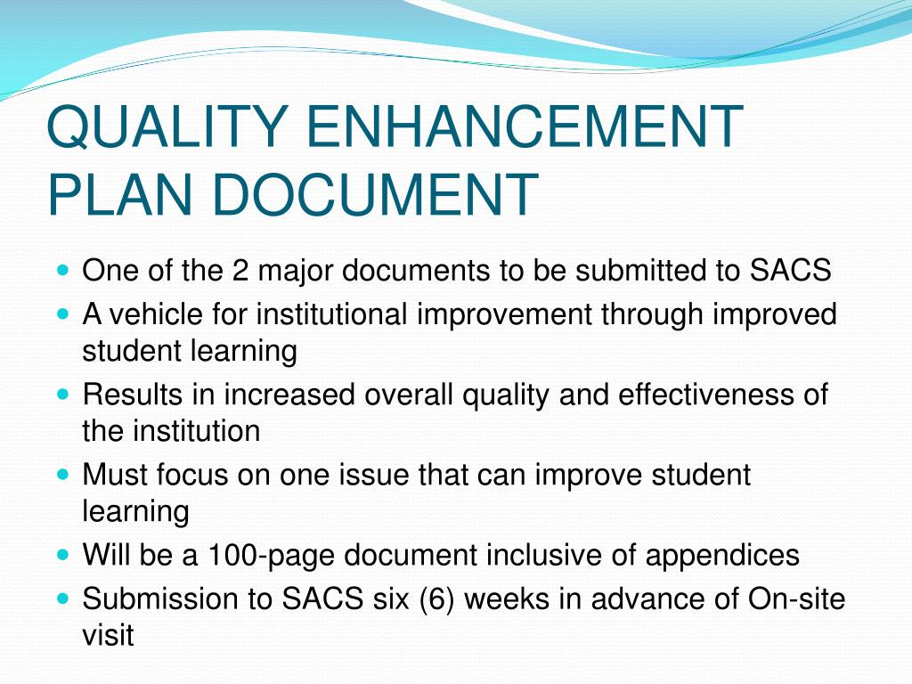 QUALITY ENHANCEMENT PLAN DOCUMENT