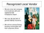 recognized local vendor
