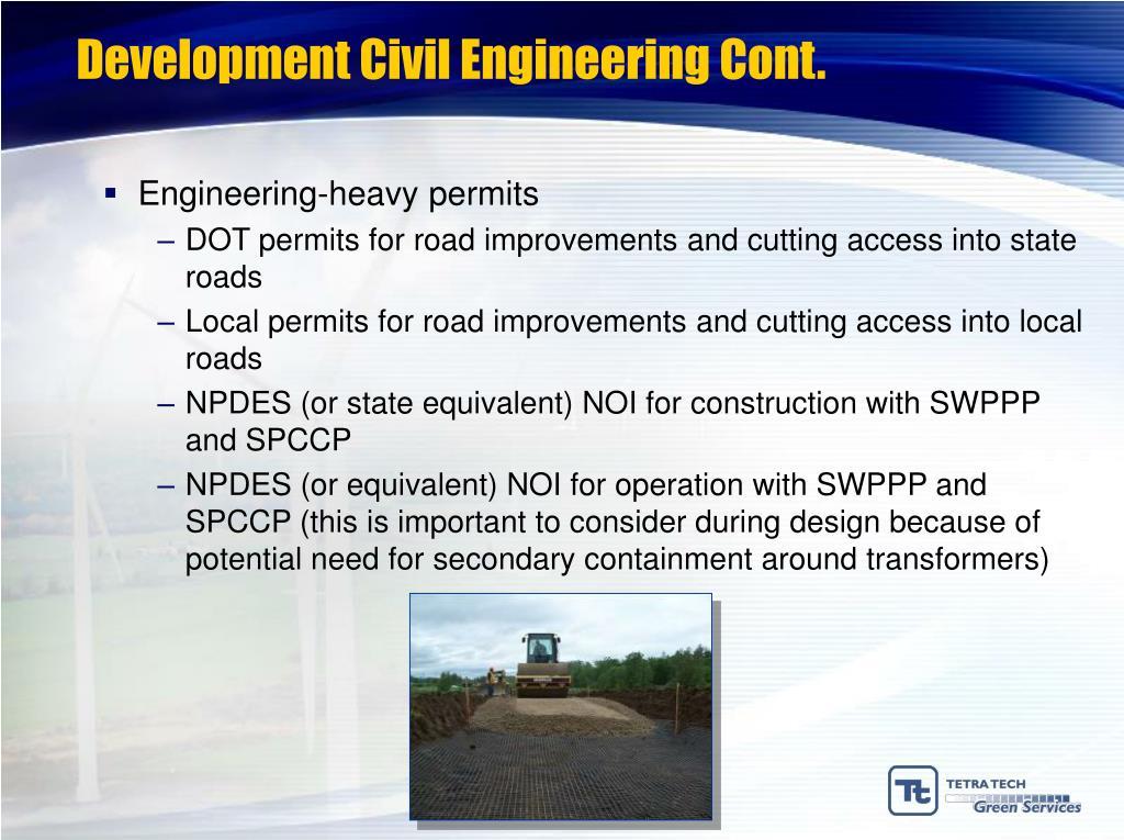 Development Civil Engineering Cont.