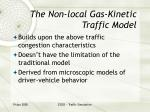 the non local gas kinetic traffic model