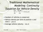 traditional mathematical modeling continuity equation for vehicle density