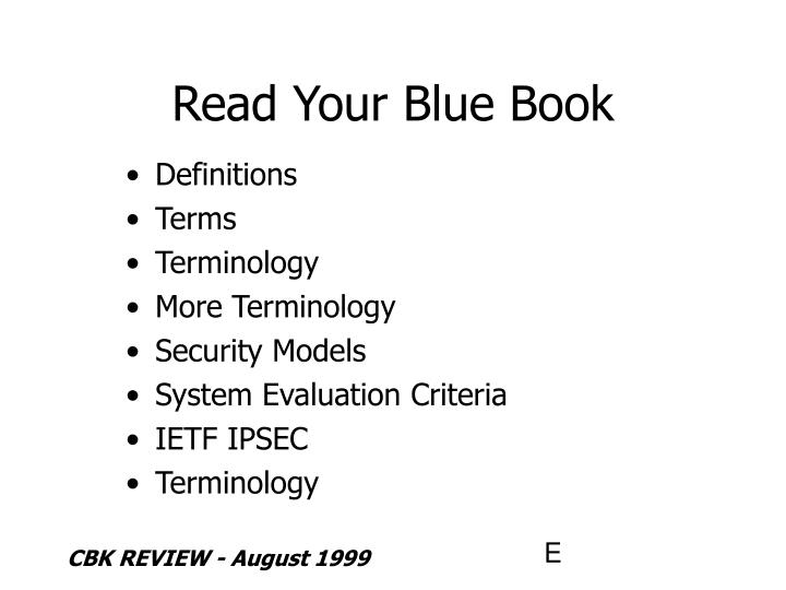 Read your blue book